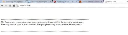 Website chính thức của Lenovo bị hack